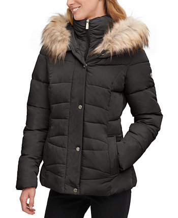 Faux-Fur-Trim Hooded Puffer Coat, Created for Macy's Calvin Klein