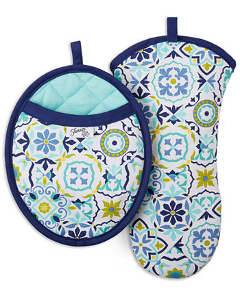 Worn Tiles 2-Pc. Oven Mitt & Pot Holder Set FIESTA