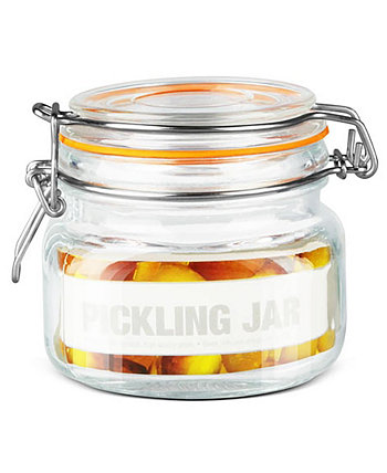 Glass 14-Oz. Pickling Jar with Wire Bail Lid and Rubber Seal Gasket HOME BASICS