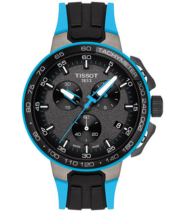 Men's Swiss Chronograph T-Sport T-Race Cycling Black & Blue Silicone Strap Watch 44.5mm Tissot