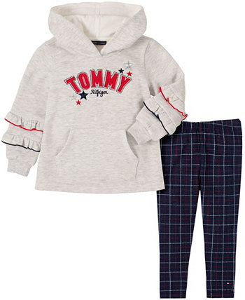 Toddler Girls Two Piece Hooded Tunic Top with Plaid Leggings Set Tommy Hilfiger