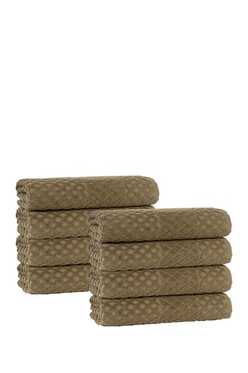 Glossy Turkish Cotton Wash Towel - Olive - Set of 8 Enchante Home
