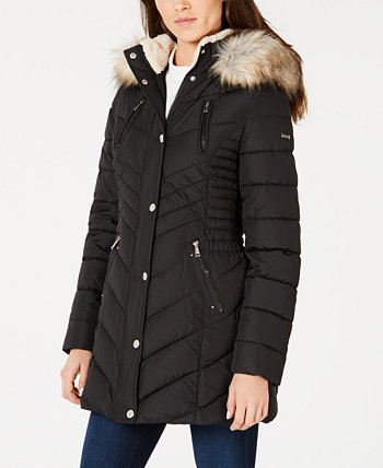 Cinched Faux-Fur Trim Hooded Puffer Coat Laundry by Shelli Segal