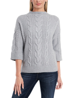 Elbow Sleeve Cable Stitch Funnel Neck Sweater Vince Camuto