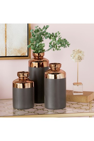 Tall Cylinder Metallic Copper & Gray Decorative Vase - Set of 3 CosmoLiving by Cosmopolitan