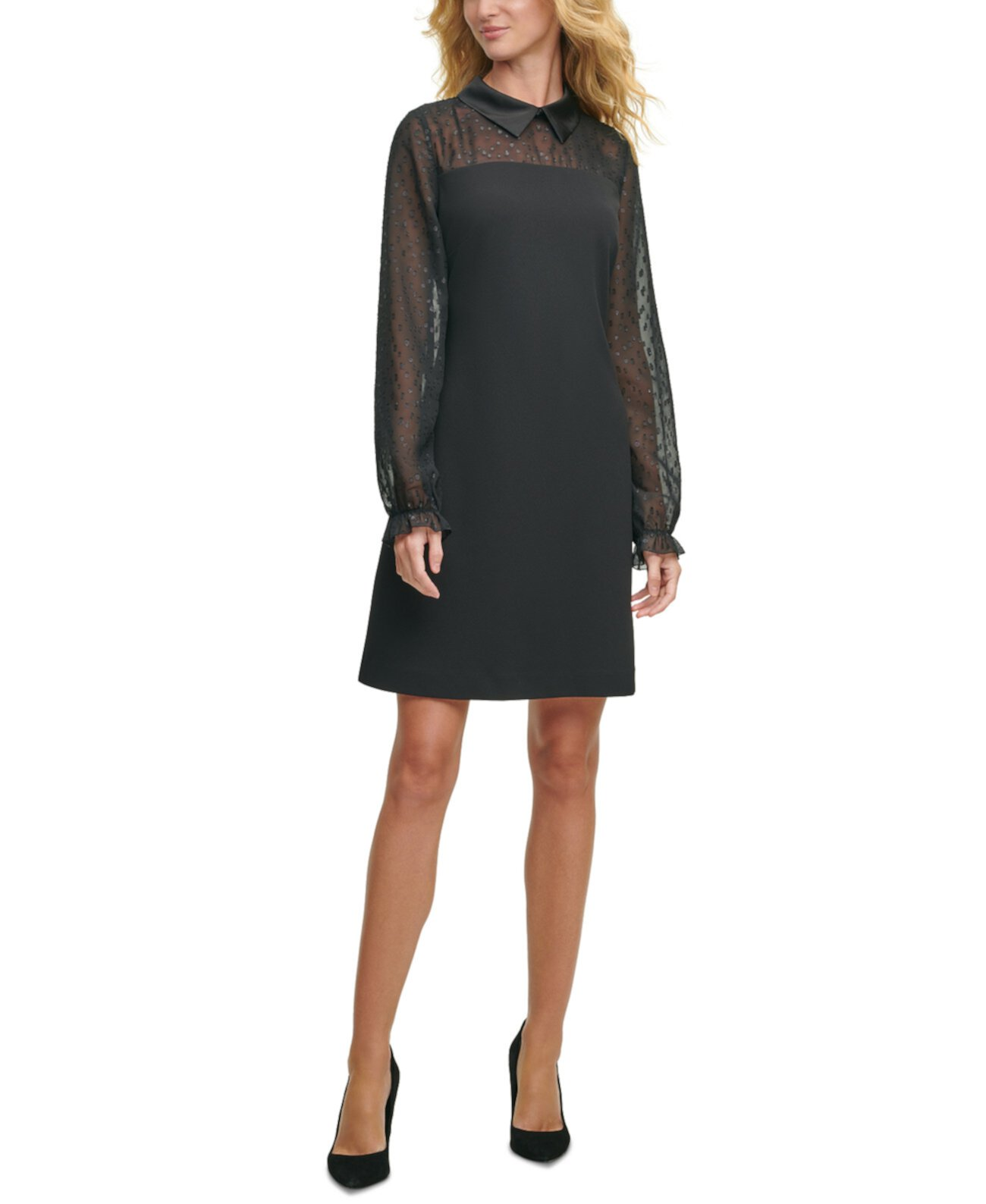 Collared Sheer-Sleeve A-Line Dress Tommy Hilfiger