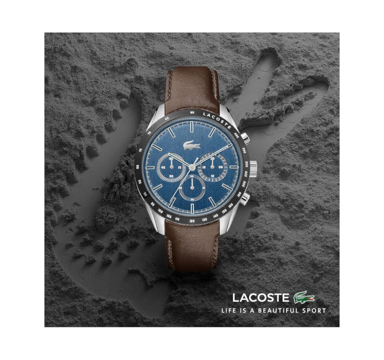 Men's Chronograph Brown Leather Strap Watch 42mm Lacoste