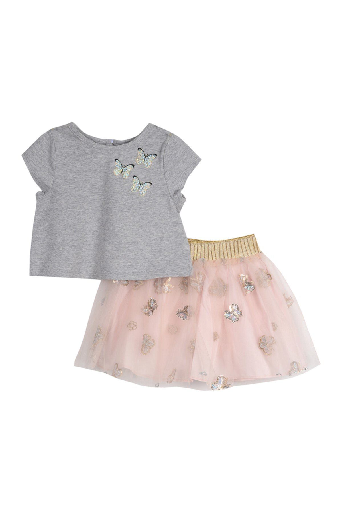 Sequin Butterfly 2-Piece Skirt Set (Little Girls) Pastourelle by Pippa and Julie